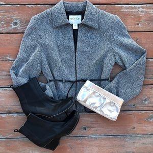 Oscar De La Renta Black Gray Blazer coat jacket 4